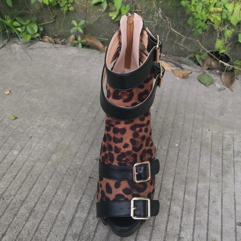 Sexy Leopard Sandals Shoes Woman Plus Size 4-20 - Neshaí Fashion & More