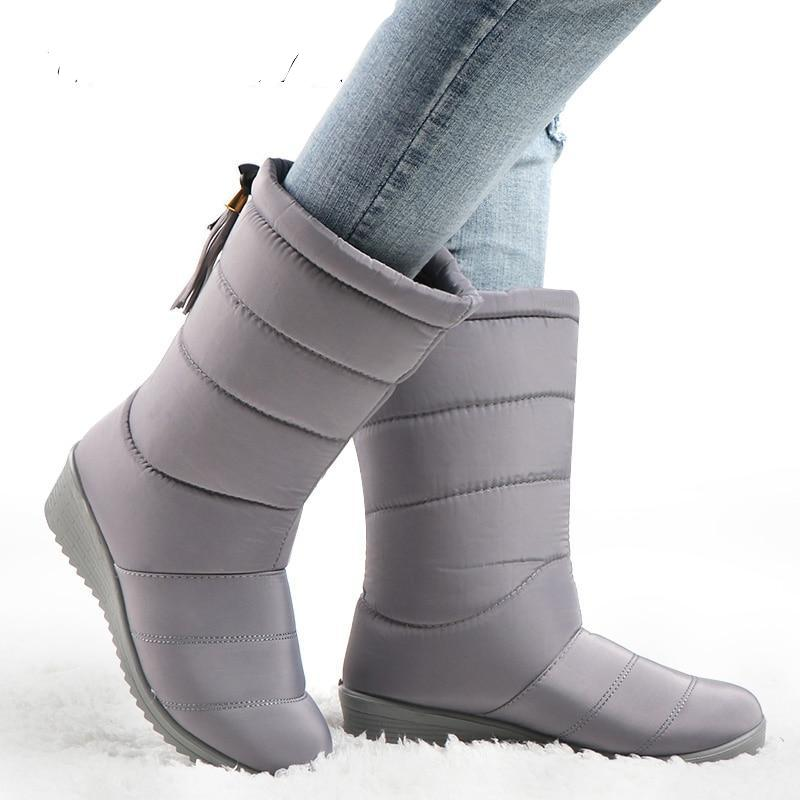Waterproof Winter Boots Female Mid-Calf Down Boots