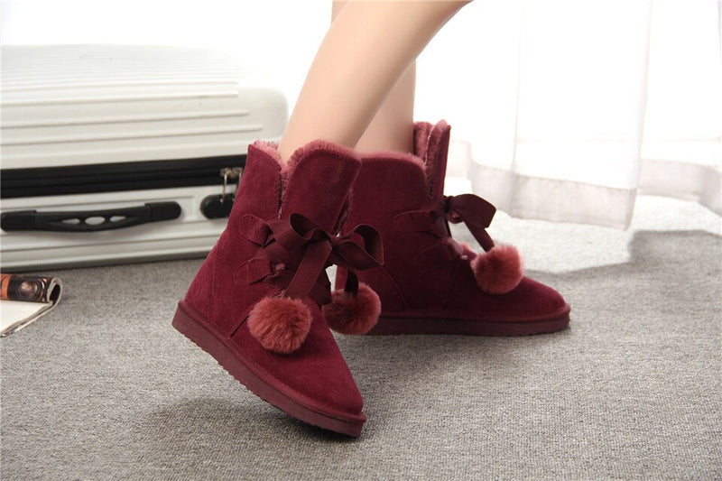 Berry colors suede  snow boots