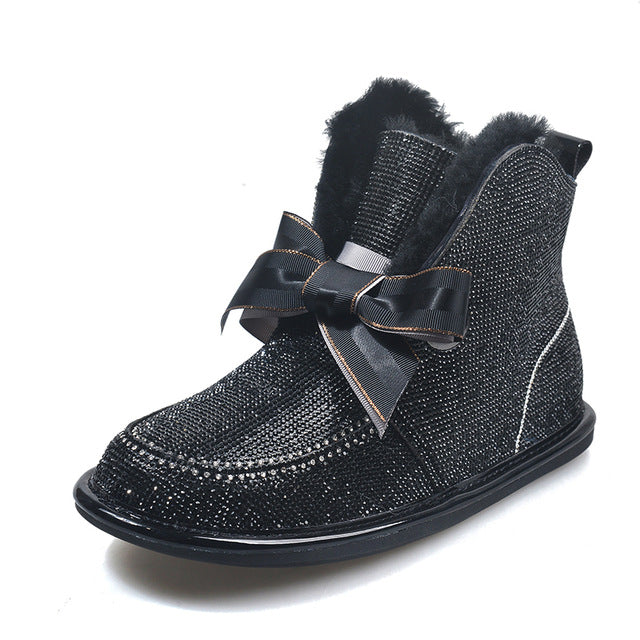 Crystal Round Toe PU Ankle Boots Lace-up