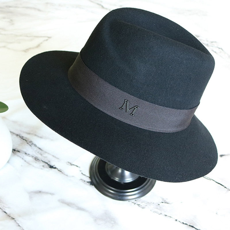 Classical Black Wide Brim Wool Fedora
