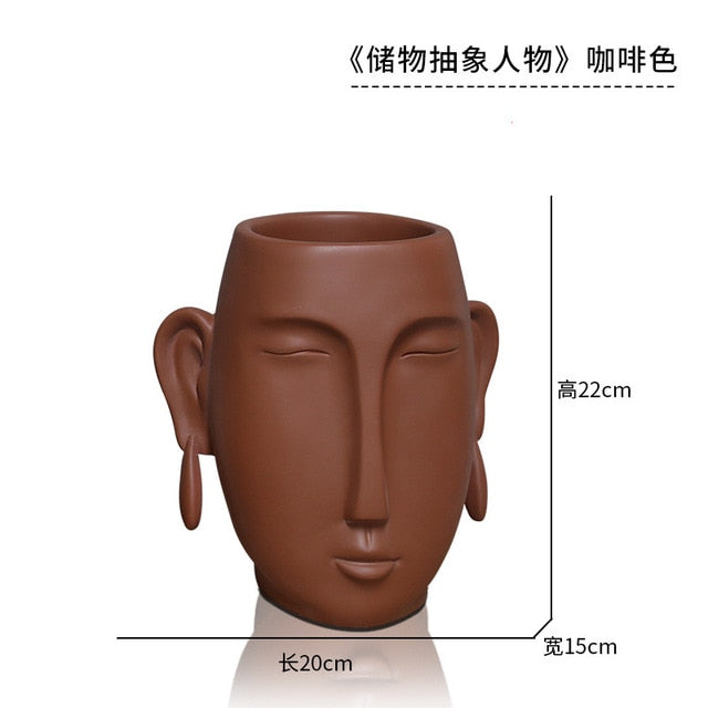 creative abstract face vase