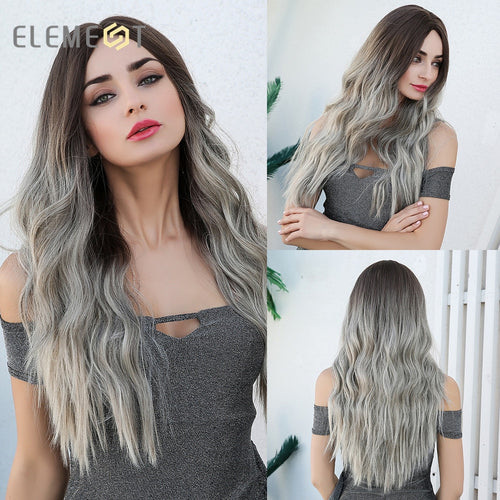 Element Center Part Synthetic Dark Root ombre wig