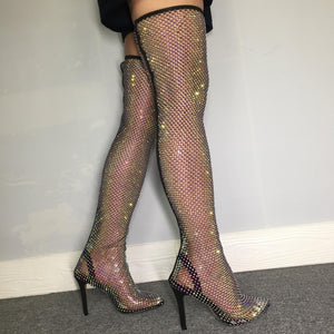 Hot Girl  Black Bling Fishnet Boots
