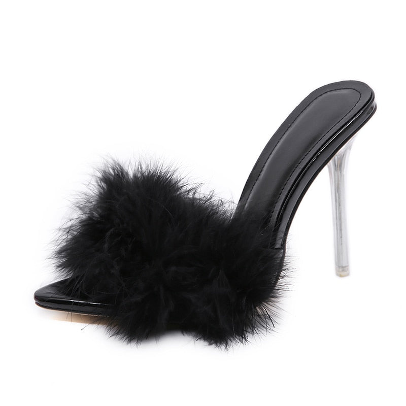 feather peep toe slippers