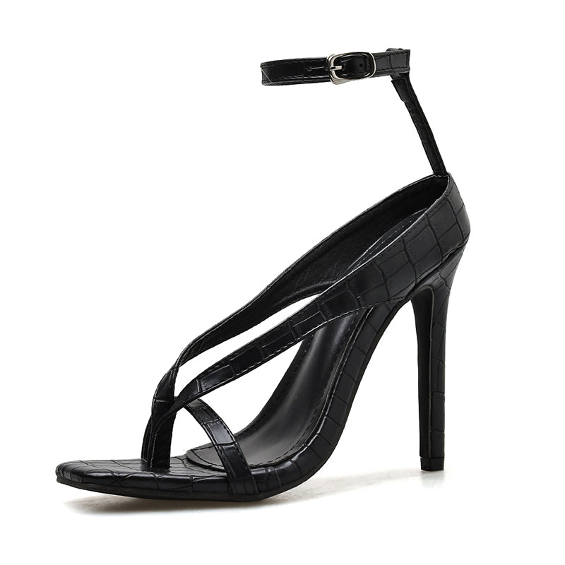 Black stone pattern sexy strappy sandals