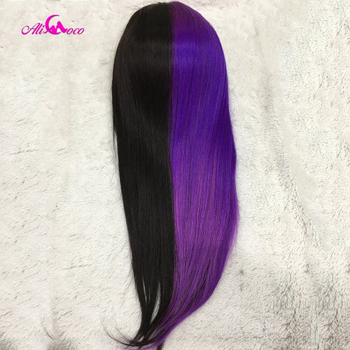 colorful  Highlights Human Hair Straight WIGs - Neshaí Fashion & More