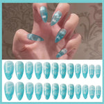 24Pcs/set Stiletto Shape Nails press on  Sky Blue