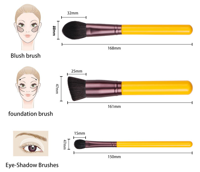 Yellow series 11pcs synthetic hair brushes