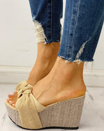 bow tied slip on leisure wedges