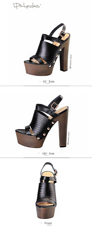 metal ankle strap City heels