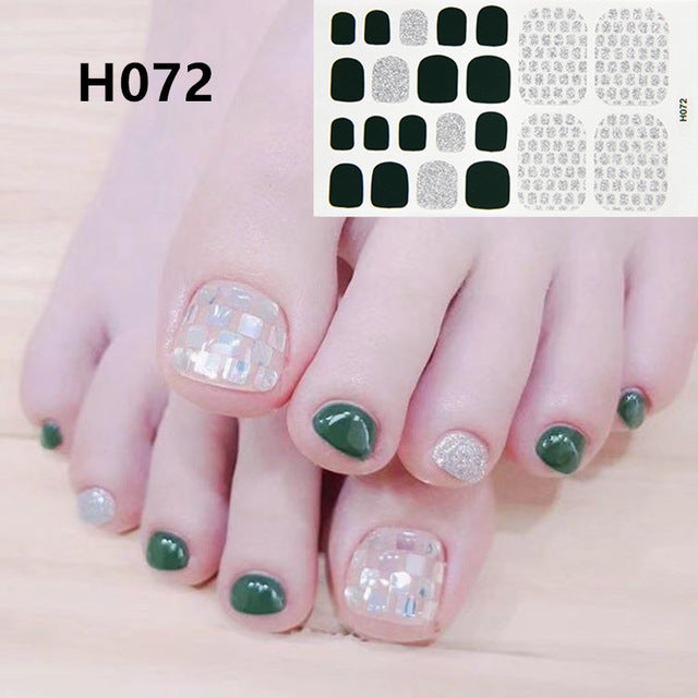 1Sheet Adhesive Toe Nail Sticker Glitter