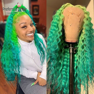 Green 13x6 Ombre Lace Front Wig Brazilian Remy Preplucked