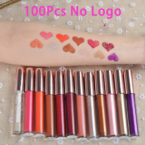 50Pcs 12 Colors Custom Logo   Liquid Lipgloss  Wholesale
