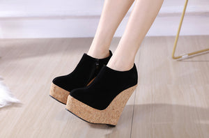 Flock Round Toe Zip Cork Platform Wedges