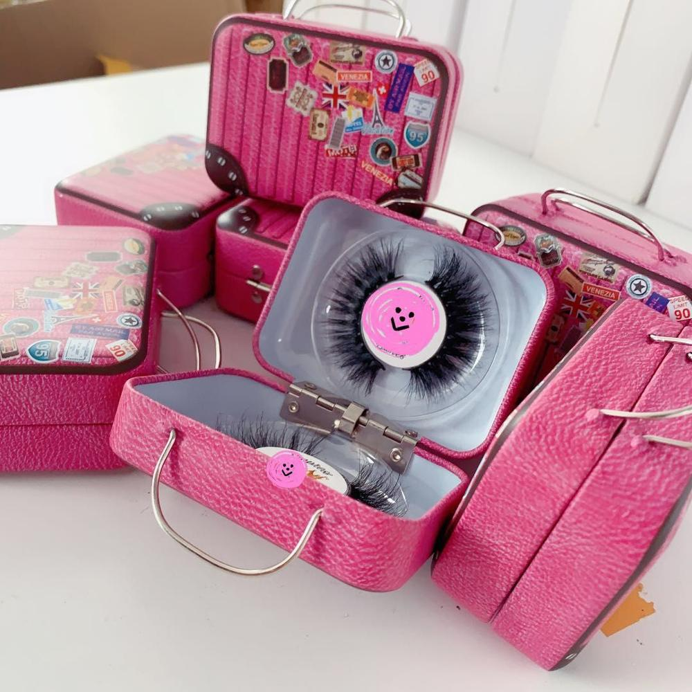New design 3D mink eyelash packaging case small suitcase packaging