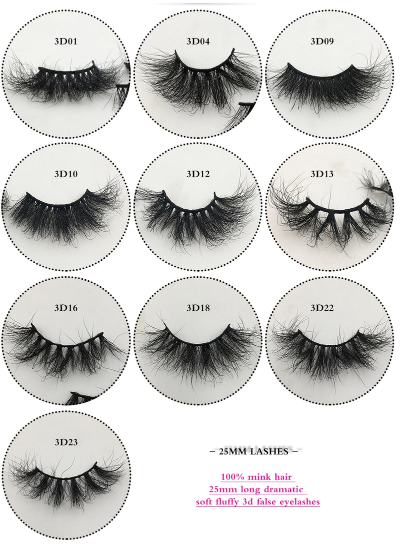 Fluffy Messy Mink Lashes Free Custom Logo 50 Pairs 25mm