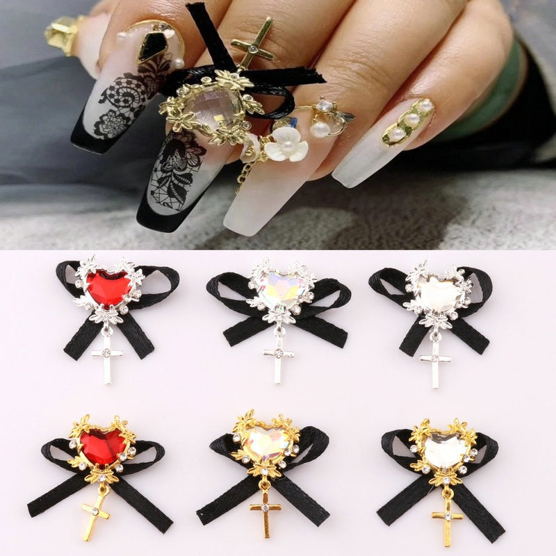 1PC Handmade Bow Heart Zircon Nail Art