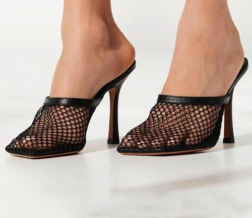 mesh square toe shoes heels