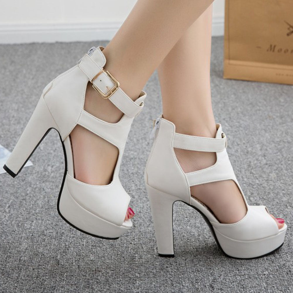 Thick Heel peep toe platform summer sandals