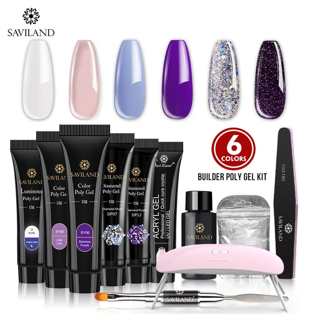6 Color Diamond Glitter Polygel Nail Kit