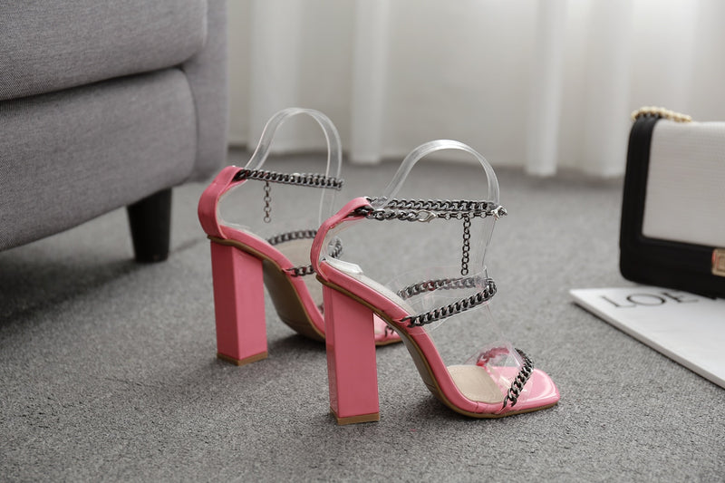 Transparent Square Toe Chain Sandals