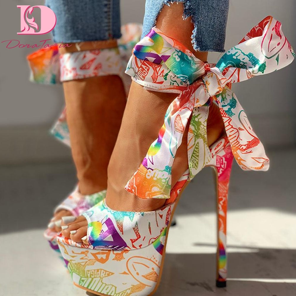 Party platform ankle-wrap Sandal