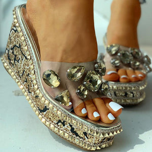 crystals bling leisure wedge slippers