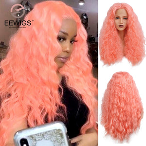 Synthetic  Mint Green - Creamy Orange Wig Unit