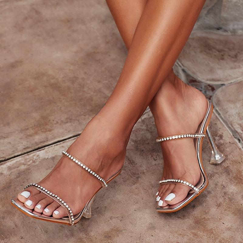 Rhinestone Clear Casual Sandals - Neshaí Fashion & More