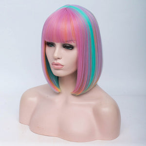 Short Bob Synthetic / Bangs Rainbow Colors