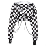 Women Plaid Casual Streetwear Sweatshirt Hoodie Crop Top - Neshaí Fashion & More