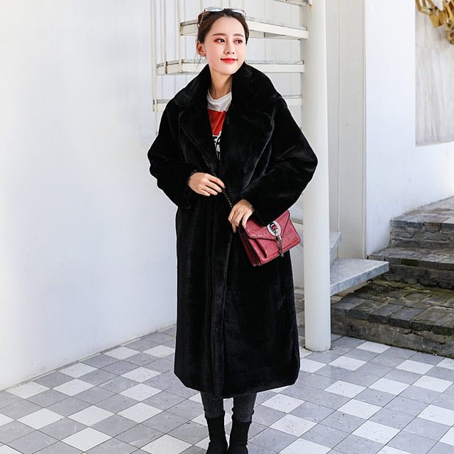 Faux Rabbit Fur Lapel OverCoat