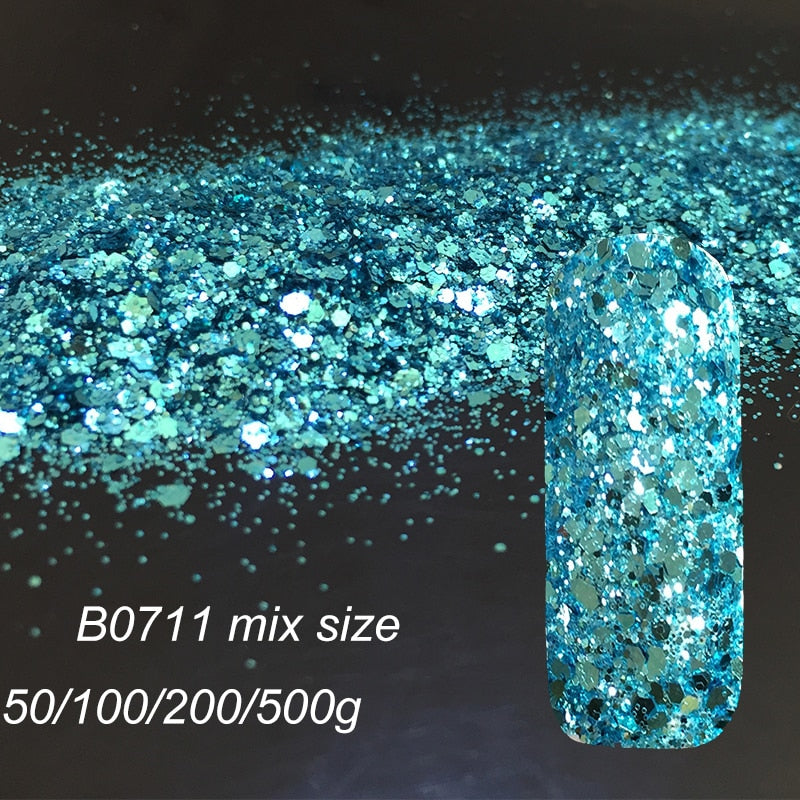 Hexagon  Nail Glitter Powder UV Dust Flash Powder