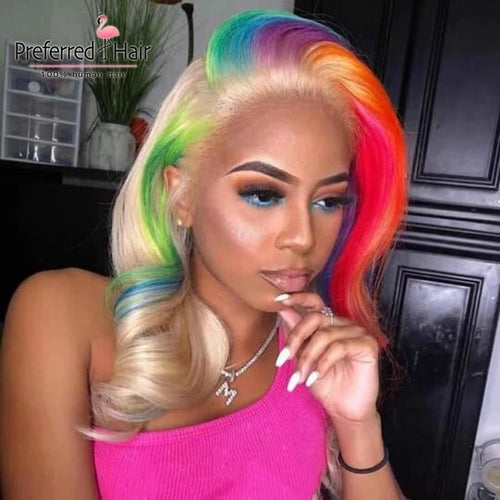 Rainbow Highlight Brazilian Lace Front