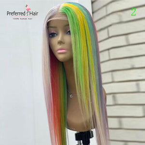 Rainbow Color Brazilian  Straight Lace wig
