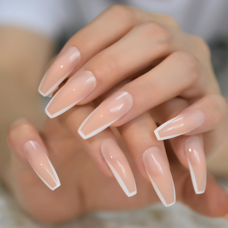 Glossy White French Press on False Nails