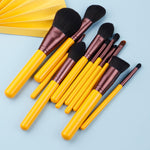 Yellow series 11pcs synthetic hair brushes - Neshaí Fashion & More