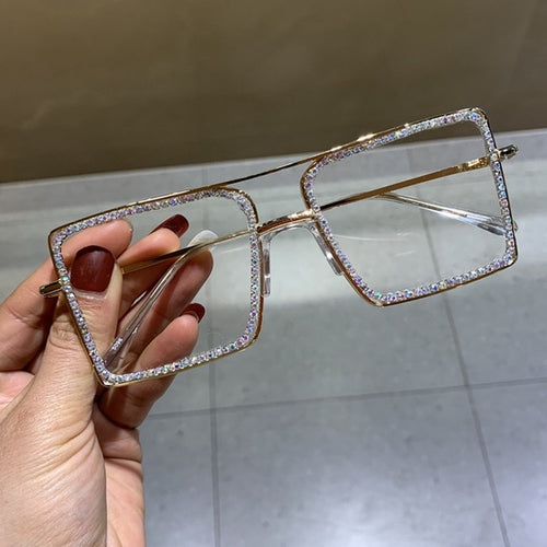 Fashion Transparent square sunglasses metal frame