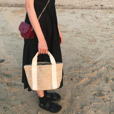 Boho Straw Bags Handmade Woven Tote - Neshaí Fashion & More