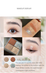 Flortte 4 Colors Glitter Eyeshadow Makeup Palette