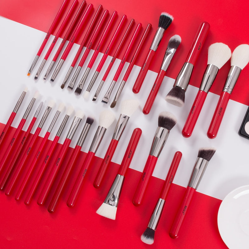 Red Natural Makeup Brushes Set 11-32pcs p - Neshaí Fashion & More