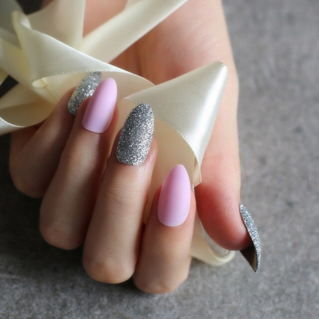 Almond matte with Glitter MIX Press on nails