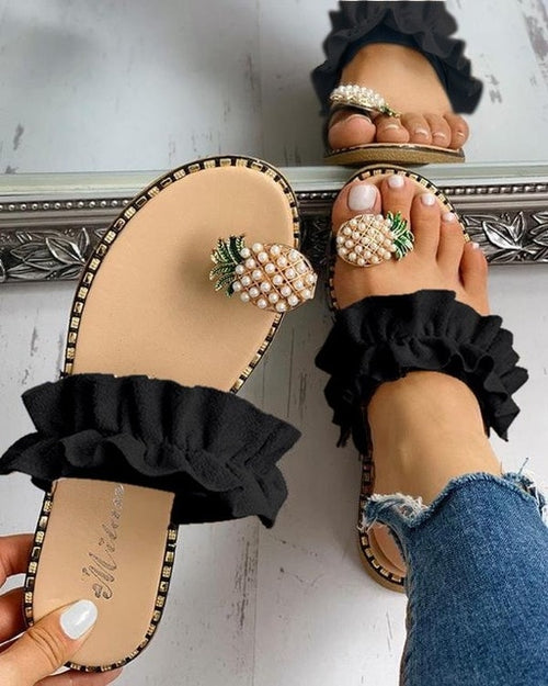 Pineapple Pearl Flat Toe Sandals