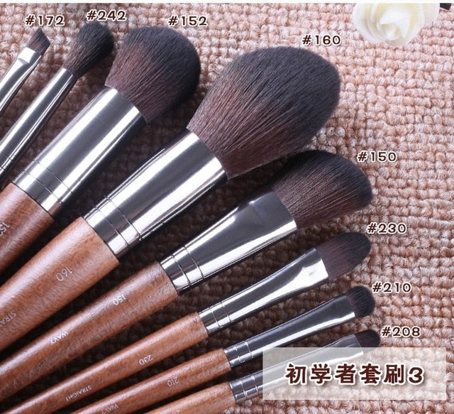 Natural wood Makeup brushes whole set Pro