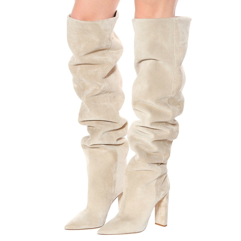 Faux Suede Over The Knee High Slouchy Boots