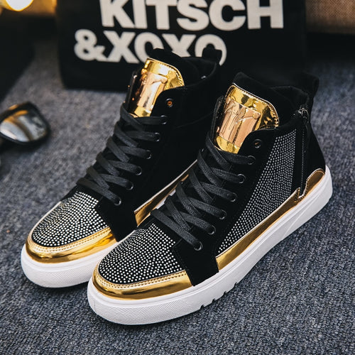 Unisex High Top Men Gold Glitter Sneakers ( men sizes) - Neshaí Fashion & More