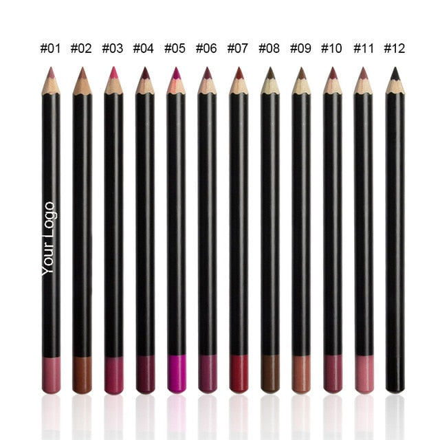 100pcs Customized Logo Lipliner 12 Colors