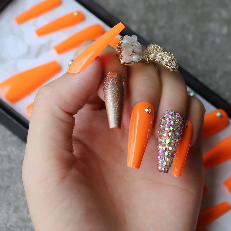 Orange Extra long coffin Press On nails - Neshaí Fashion & More