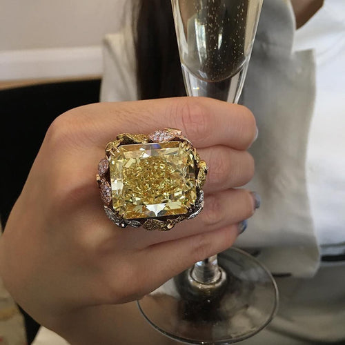 Princess Cut Big Champagne Zircon - Neshaí Fashion & More